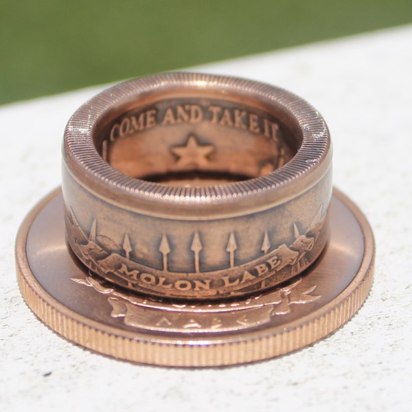custom molon labe coin ring