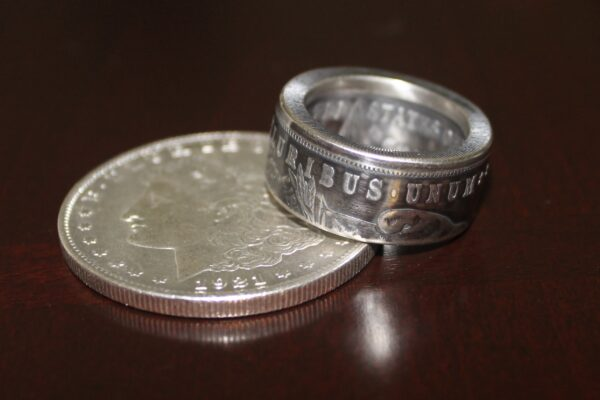 custom morgan silver dollar coin ring made by let freedom coin rings