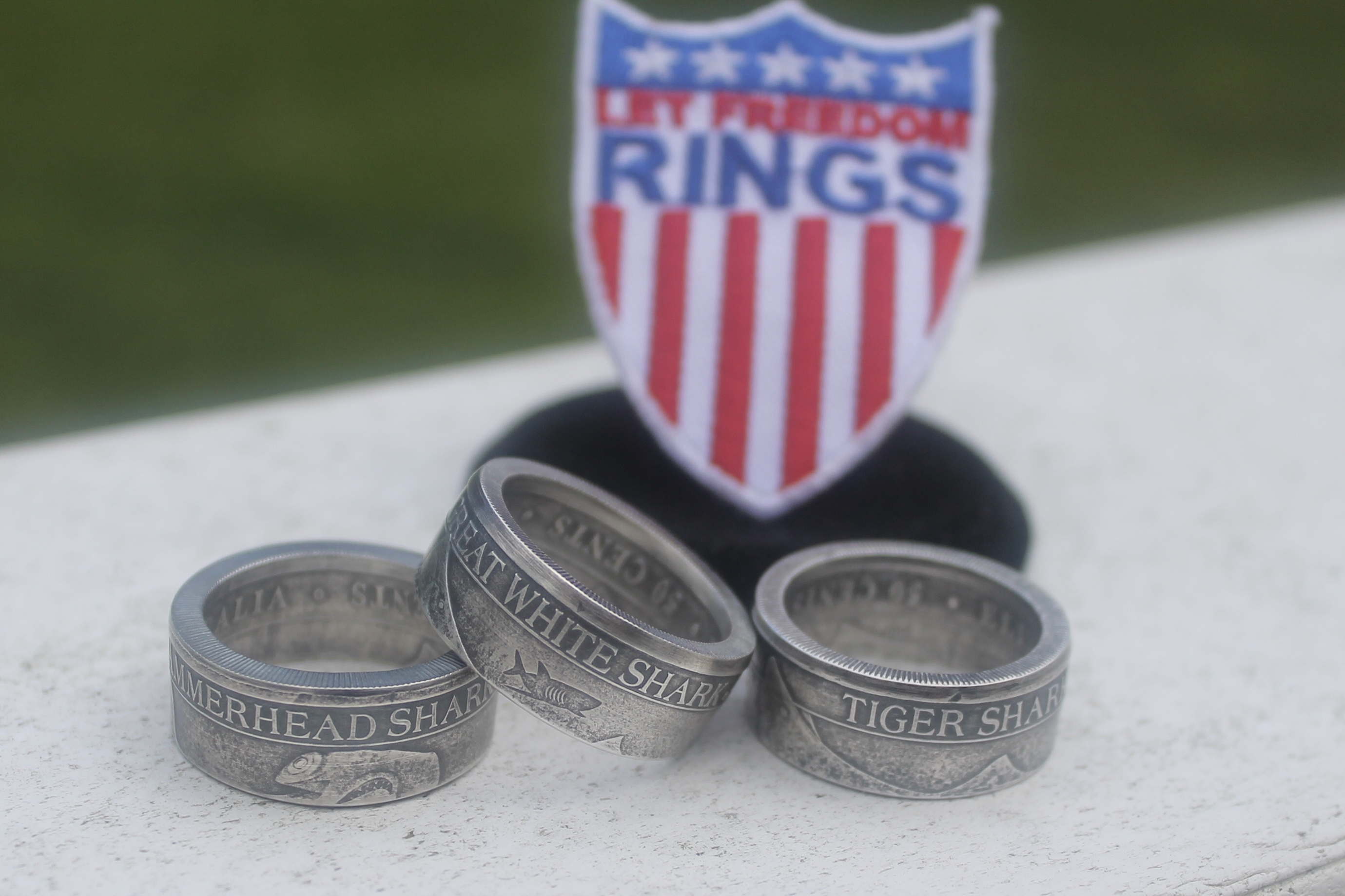 custom shark ring made from real coin let freedom coin rings